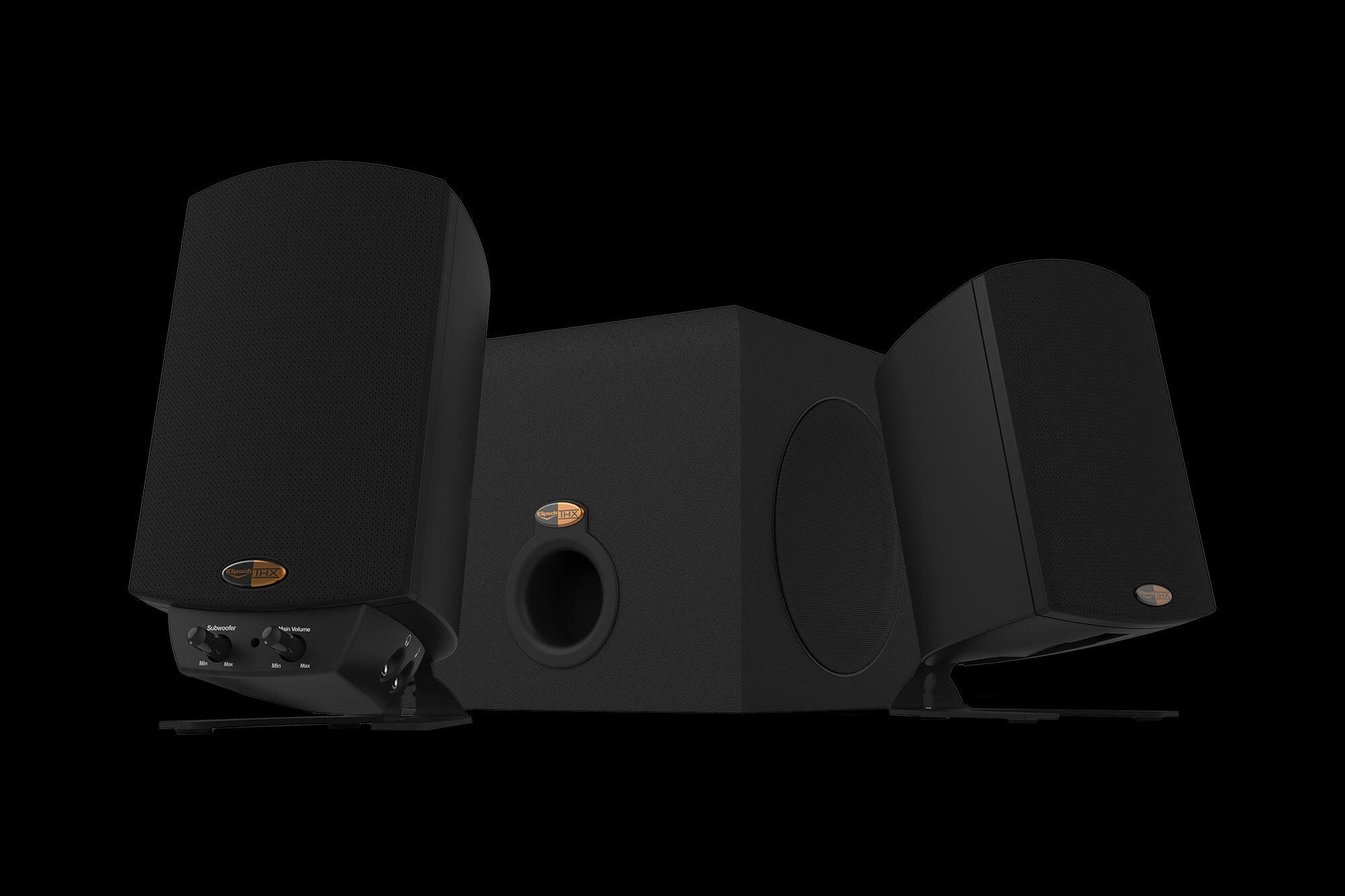 Klipsch Pro Media 21 THX best computer speakers on black