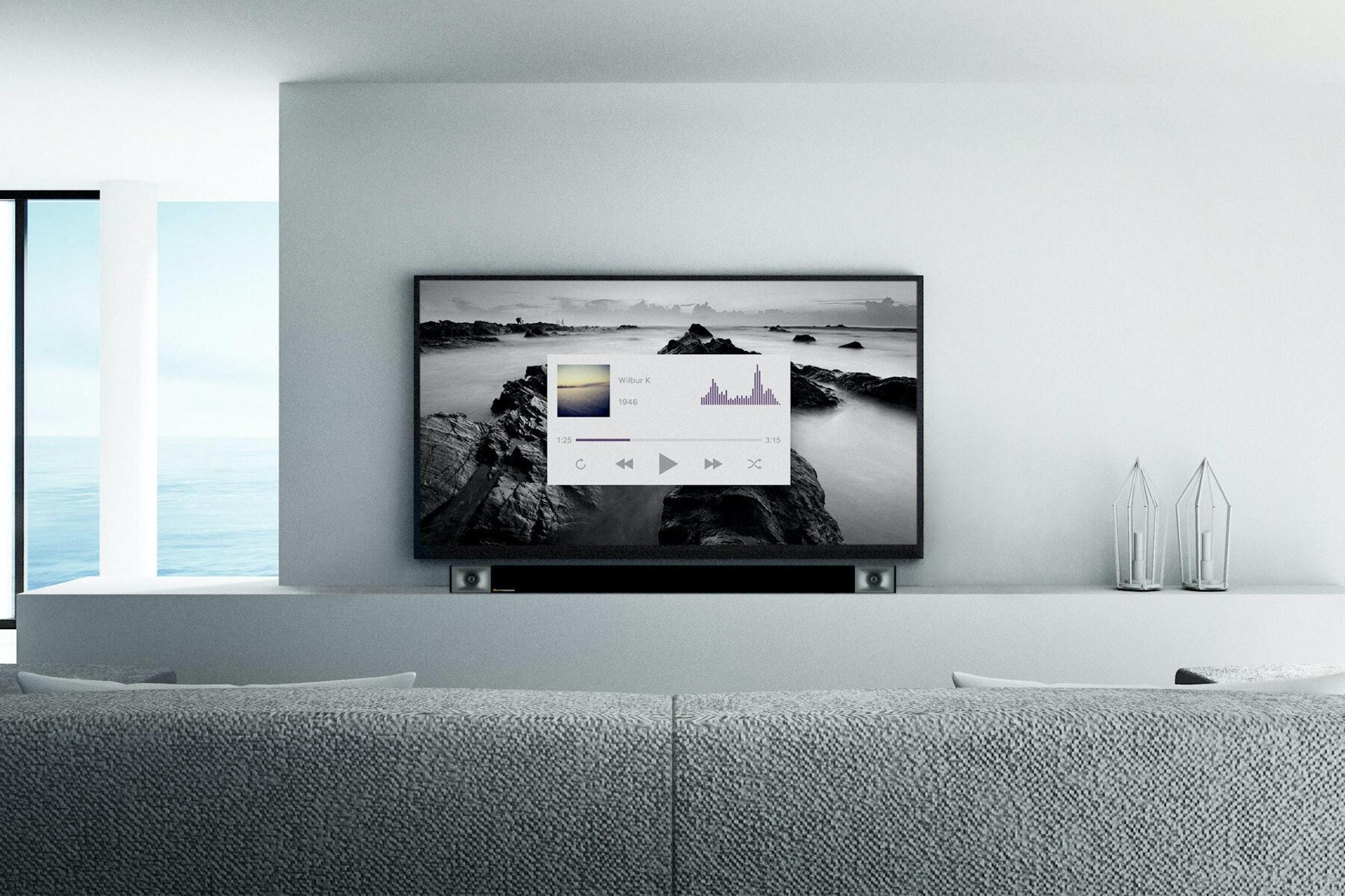 Klipsch cinema dolby atmos sound bar apartment below tv