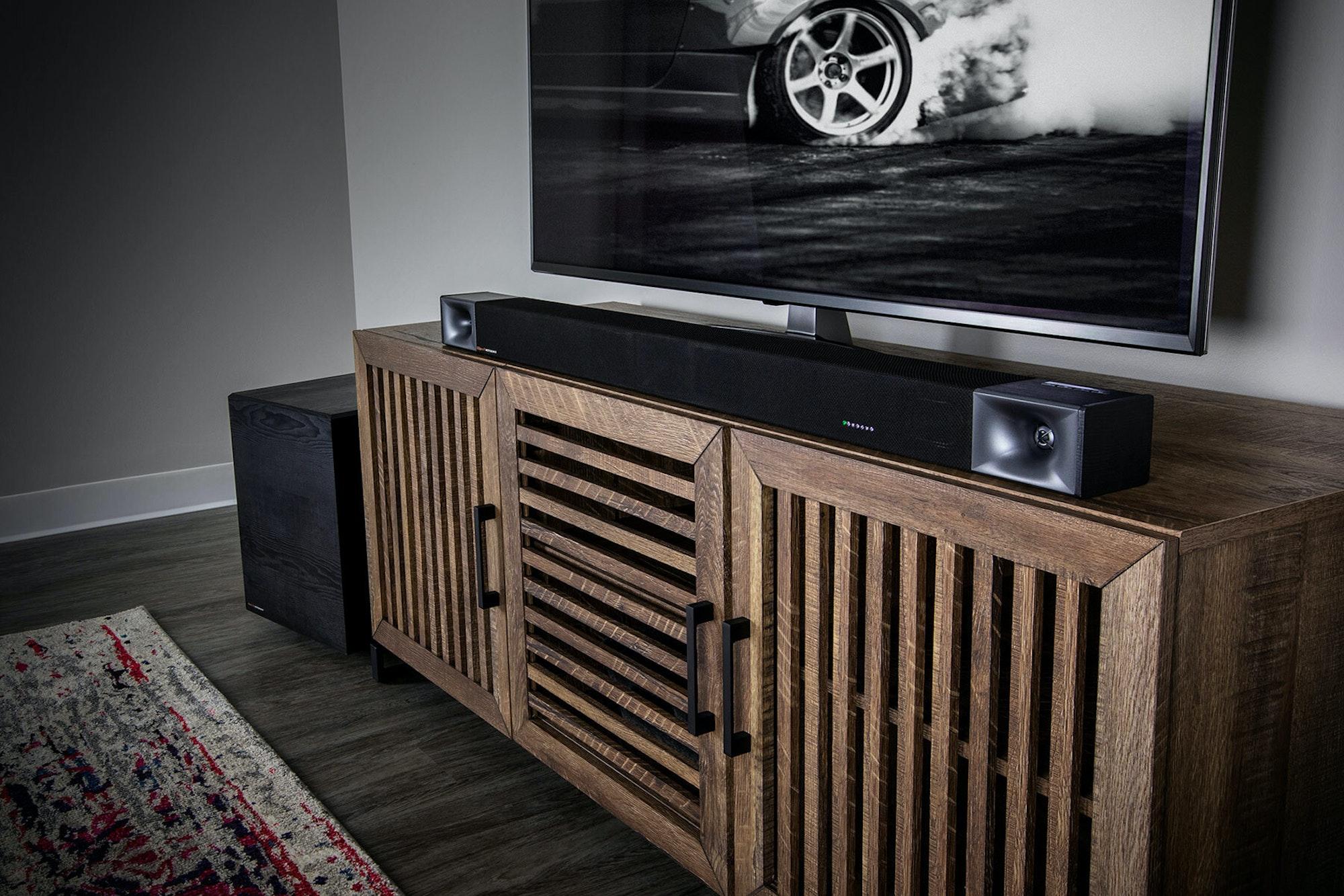 Klipsch cinema sound bar 600 on cabinet best sound bar