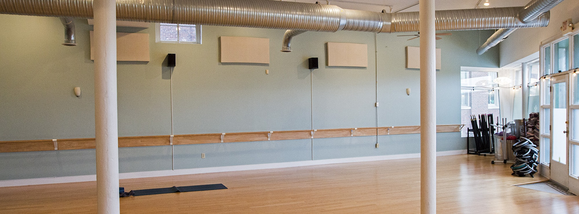 Klipsch speakers in a yoga studio