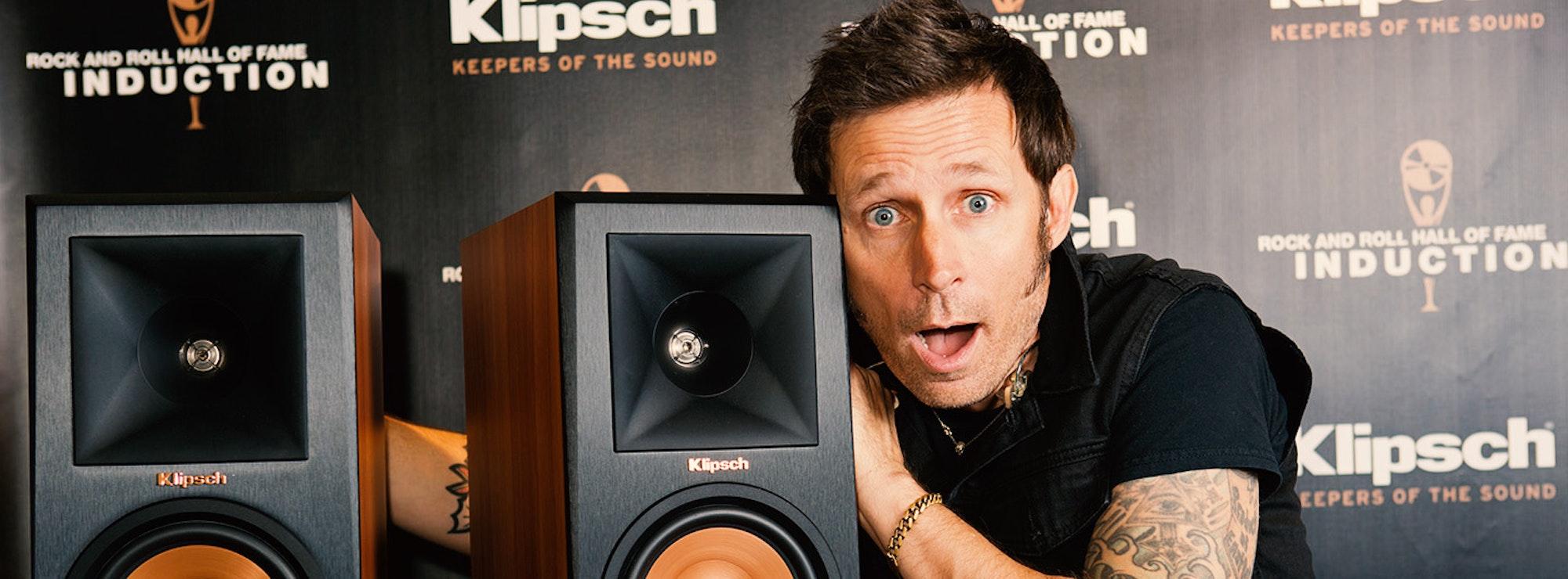 Mike Dirnt with Klipsch speakers