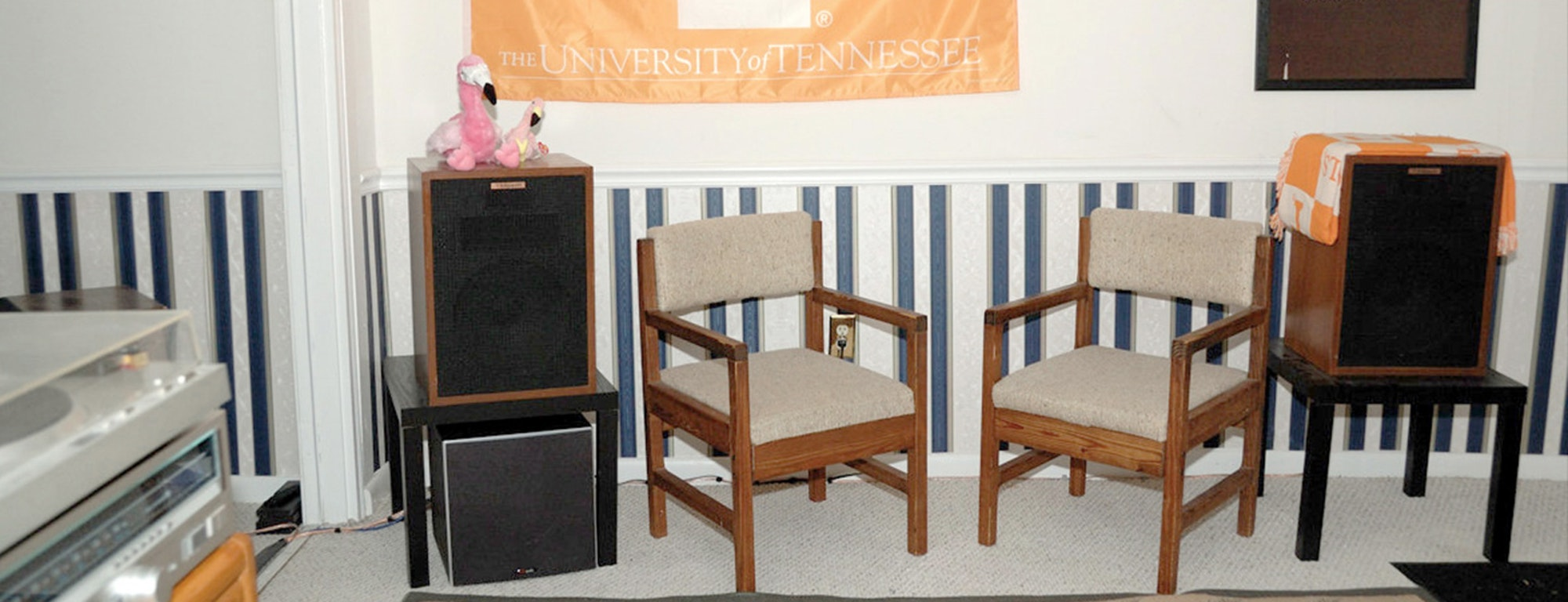 Two Klipsch Heresy speakers in a living room