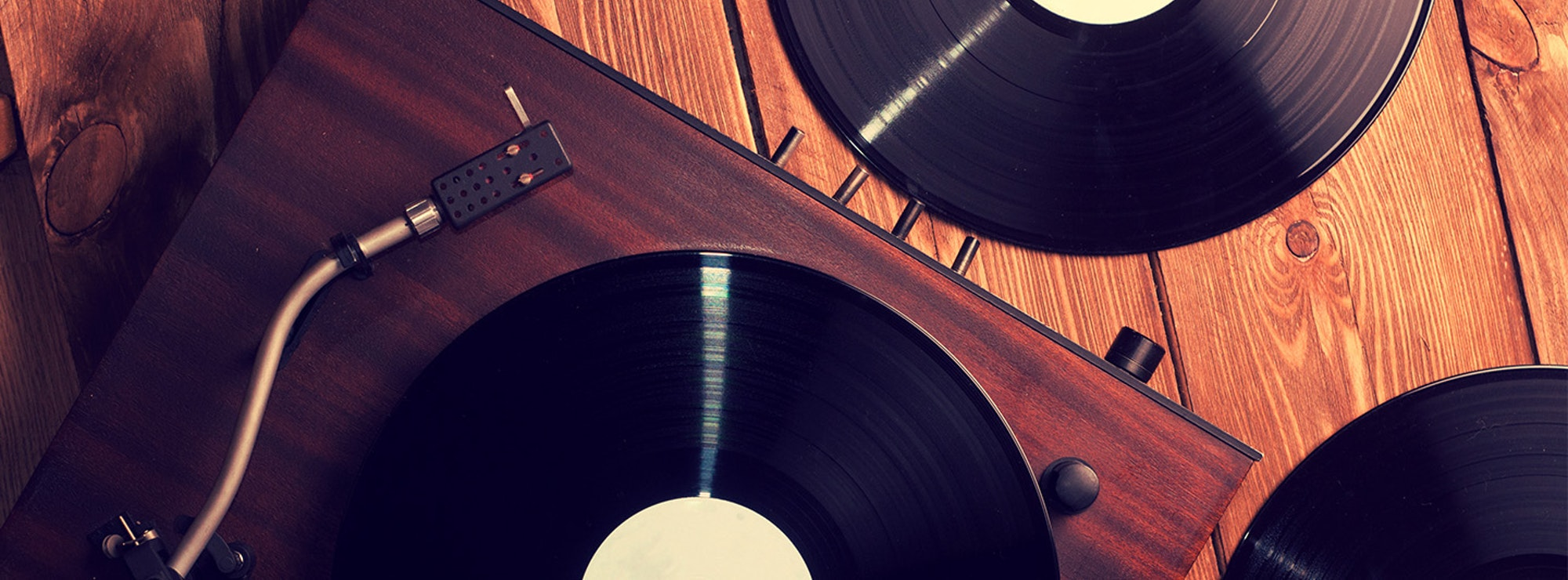 Top view of turntable and records