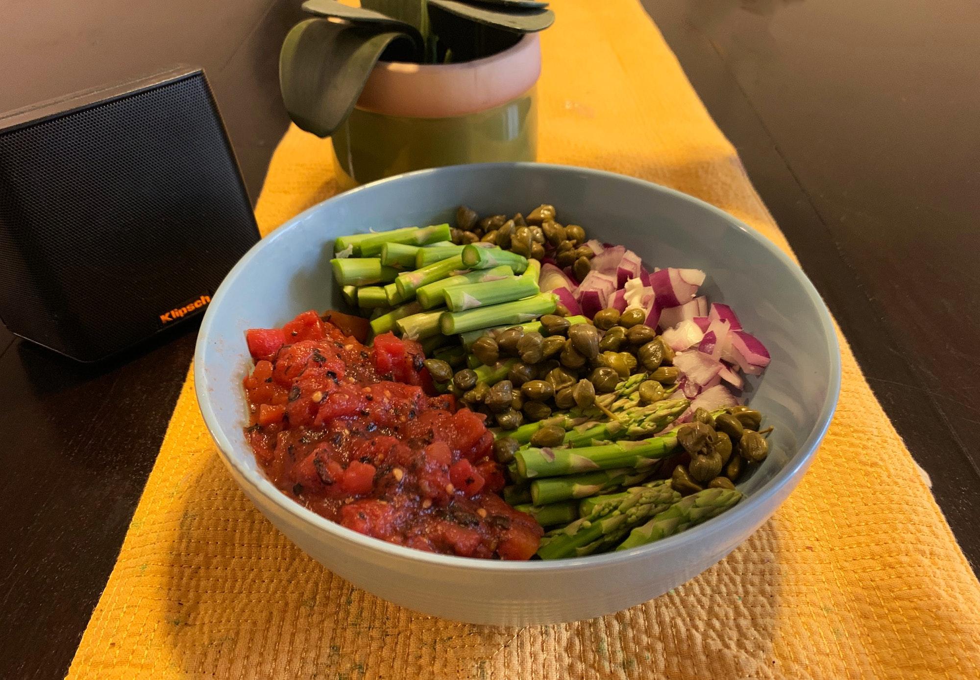 Uncooked veggies table view