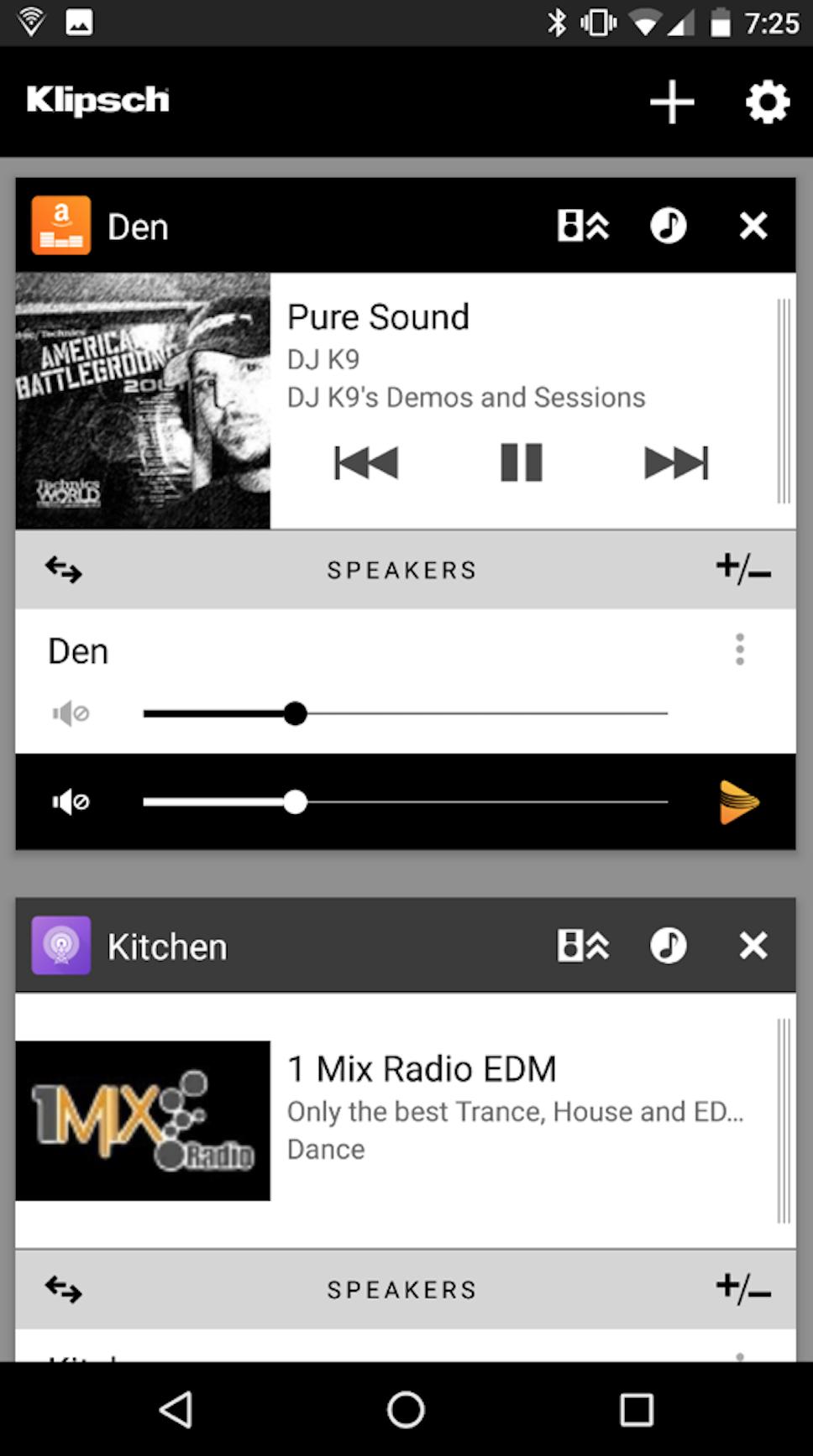 Klipsch Stream App Screenshot Zones