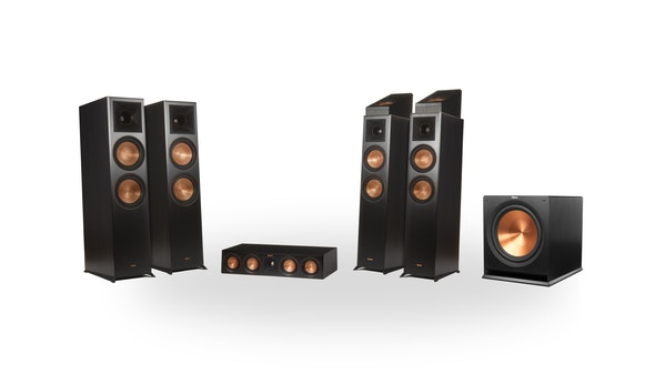 A Klipsch Reference Premiere Home Theater System in a 5.1 speaker configuration