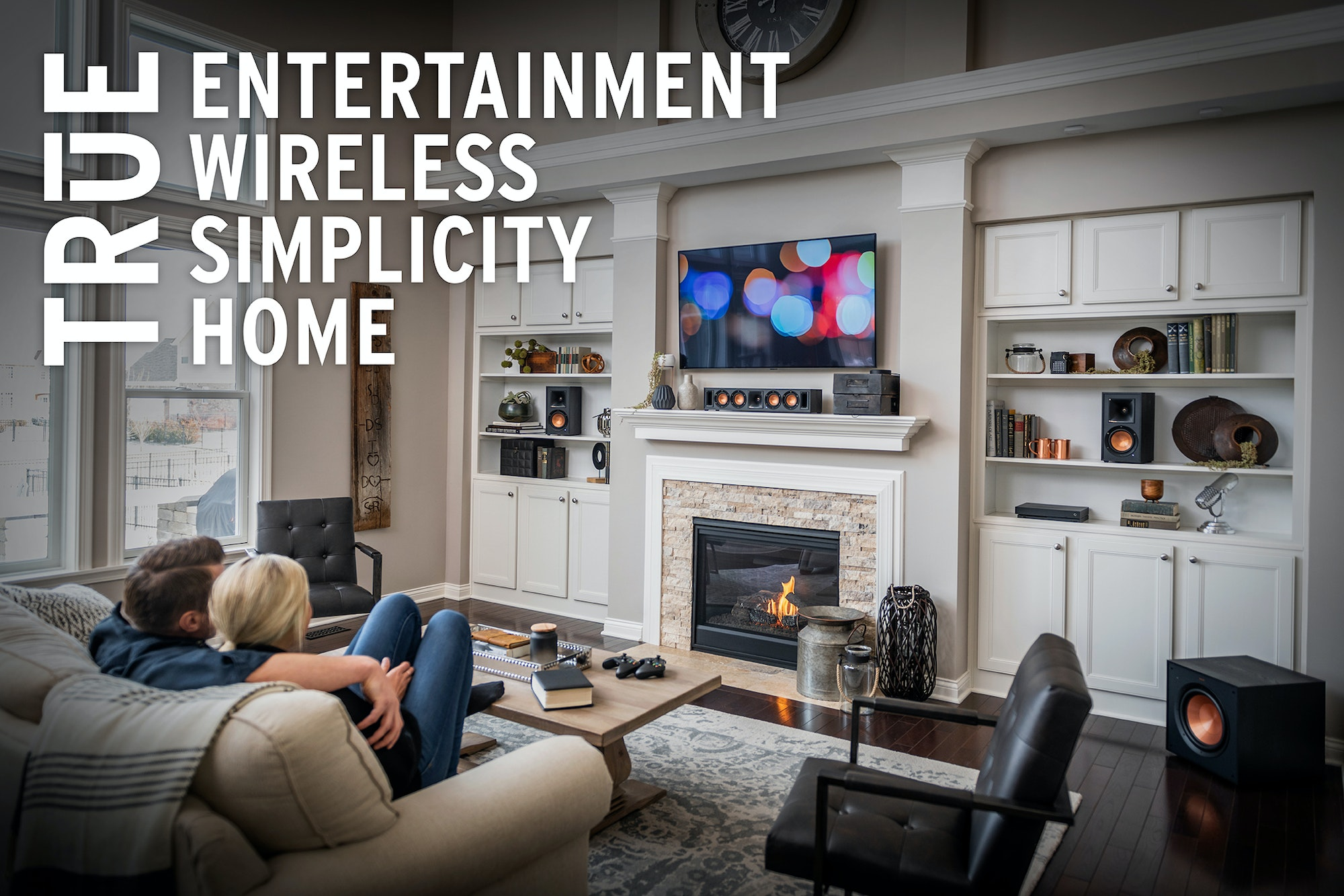 Klipsch Reference Wireless home theater system in a living room